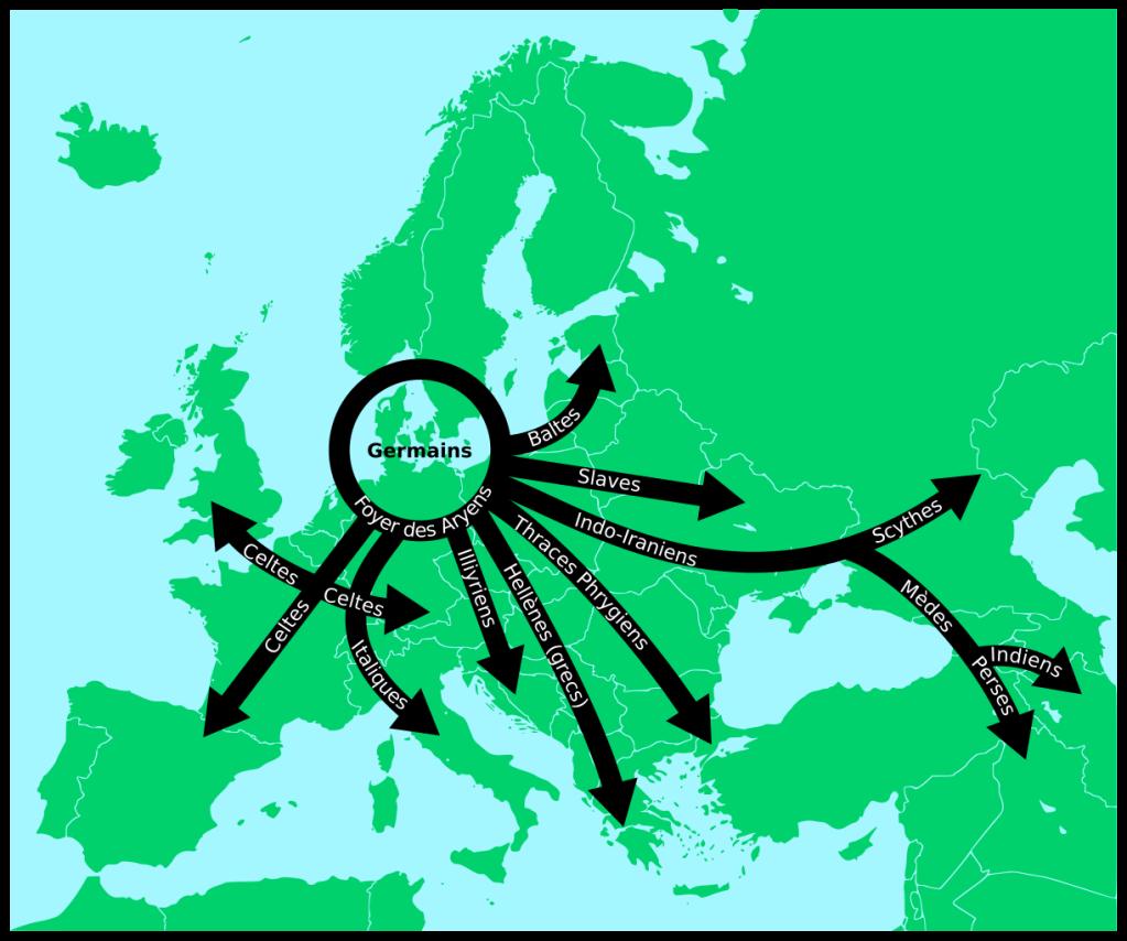 Carte de la diffusion des langues Indo-Européennes selon Gustaf Kossinna : une théorie nationaliste controversée. Par Antonin Cabioc'h