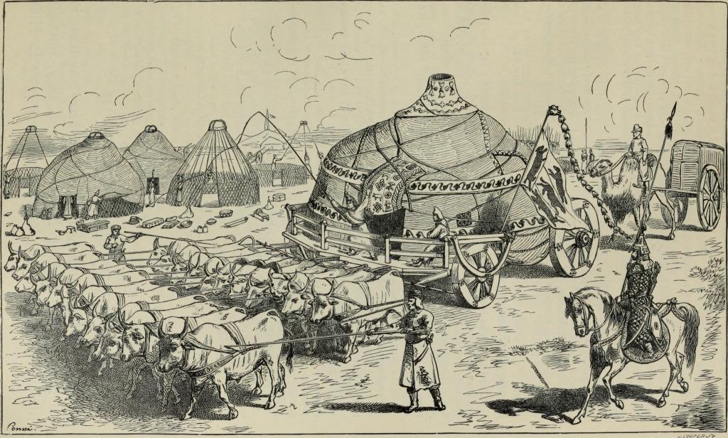 Gravure extraite du livre de Marco Polo. Elle représente une yourte montée sur charrette, tirée par des rangées de 10 boeufs.