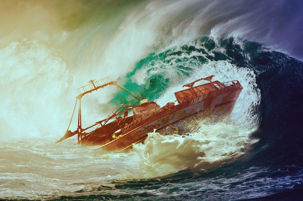 Représentation d'un mur d'eau engloutissant un navire © Myriam Zilles, Pixabay