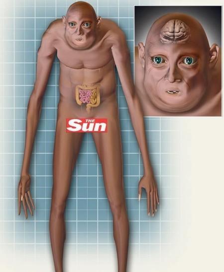 L'humain du futur, d'après The Sun.